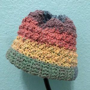 Rainbow crochet baby hat